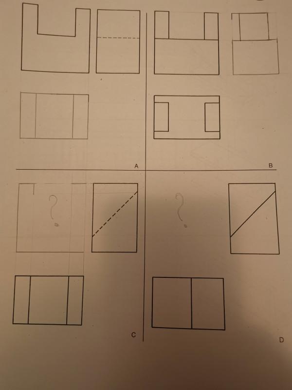 Построить третий вид по двум заданным. Задание C и D